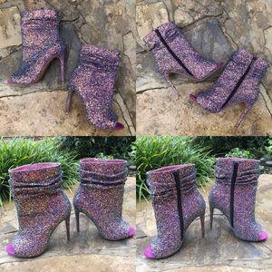 Spotlight Violet Glitter High Heel Ankle Boots 4.75